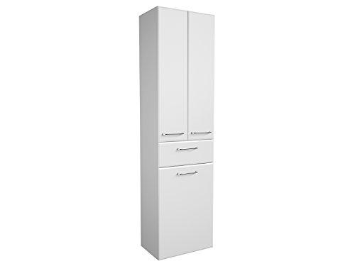 Hochschrank Ablageschrank Badschrank Seitenschrank Badmöbel Schrank Carrie II weiß-Glanz/weiß-Hochglanz