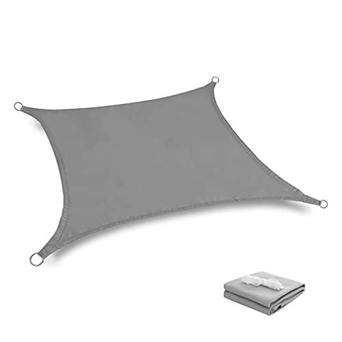 YZU Vela de Sombra Rectangular Impermeable, 95% UV Protección Respirable Toldo, Material Tela Oxford con Cuerda para Exterior Jardín Terraza Piscina, Gris,3x5m