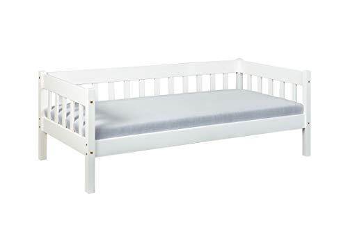 Inter Link Sofabett Tagesbett Gästebett 90x200 Kiefer massivholz weiß lackiert, 209 x 100 x 70 cm