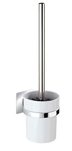 WENKO Turbo-Loc® WC-Garnitur Quadro - WC-Bürstenhalter, Befestigen ohne bohren, Kunststoff (ABS), 9.5 x 35.5 x 12 cm, Chrom