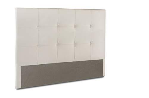 Home Heavenly- Cabezal Cama, cabecero tapizado Olson 150 X 115 y 105 X 115 para Cama Individual y de Matrimonio Acolchado con Espuma de 6 cm. (Blanco, 150_x_115_cm)