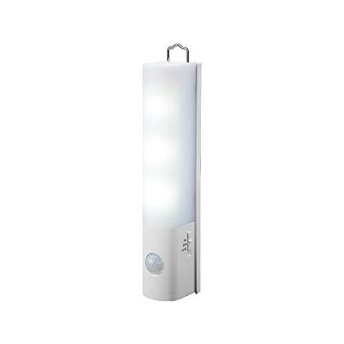 コモライフ マグネット付LEDセンサーライト 屋内 電池式 人感 フットライト 廊下 階段 クローゼット ハンディライト 災害 防災 防犯 ホワイト