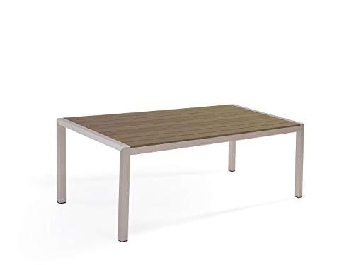 Beliani Outdoor Modern Gartentisch 6 Personen Braun Aluminium 180 x 90 cm Vernio