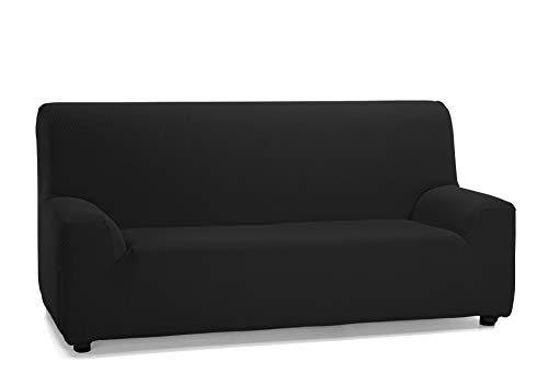 Martina Home Tunez, Copridivano elastico, Tela (50% poliestere, 45% cotone, 5% elastan), Nero, 3 Posti (180-240 cm larghezza)