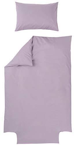 La Chambre de Bébé - Parure de lit Housse de couette 100x140 cm + taie d'oreiller 40x60 cm- Coloris Parme - 100% coton- facile à border