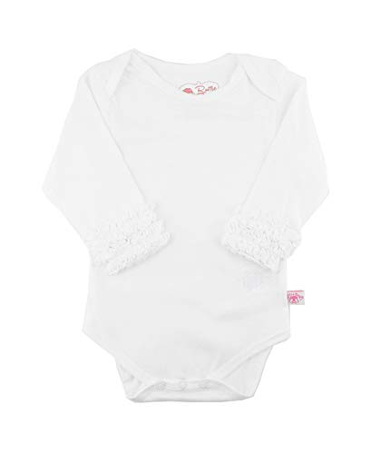 RuffleButts Baby/Toddler Girls Girl White Long Sleeve Undershirt One Piece - 6-12m
