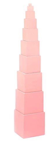 edu fun 91100 Montessori - Torre de cubo con 10 dados para motricidad, juguete educativo a partir de 3 años de altura y diámetro diferentes, juguete de madera