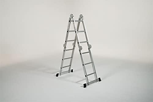 Best Direct Starlyf Multiple Ladder Escalera De Aluminio Plegable Multifuncional Diseño Antideslizante Carga Máxima 150 KG Aprobado Uni EN 131-4:2020