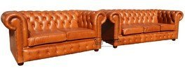 Designer Sofas4u Chesterfield 3 + 2 Places Canapé Old English Tan Cuir Suite