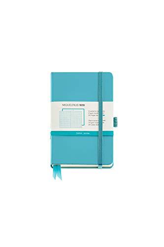 Miquel Rius - Cuaderno bonito de notas, cubierta rígida símil resistente, cierre goma, tamaño 140 x 90 mm, 192 páginas de 80 g/m², rayado horizontal de 7 mm, color azul