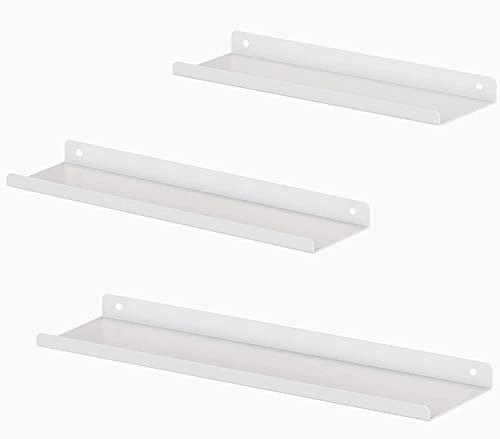 Stonebroo 3er Set Wandregal Weiß Metall, Länge 42/40/40 cm, Wandboard Freischwebend, Modern Schweberegal für Dekos, Regale für Wände, unterschiedliche Layouts, LBJ14W