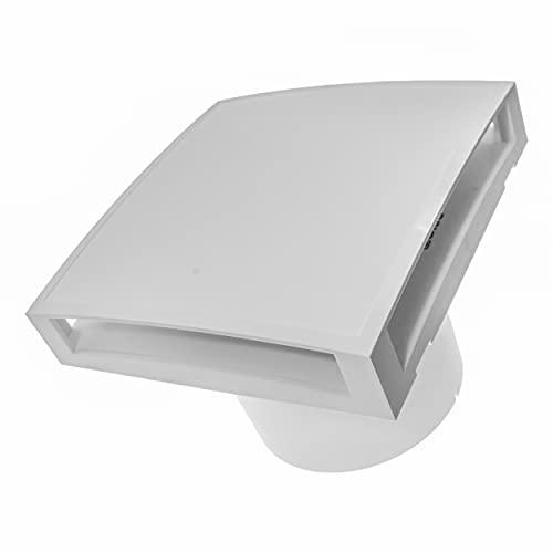 Ventilador eléctrico - Ø100 mm / 10 cm / 4 pulgadas con cubierta de ventilación solar - Para interiores - Baño silencioso, cocina, ventilador de habitación - Soporte de pared y techo