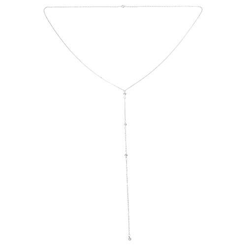 Happyyami Collar de Cristal Nupcial Rhinestone Delantero Y Trasero Fuga Cadena de...