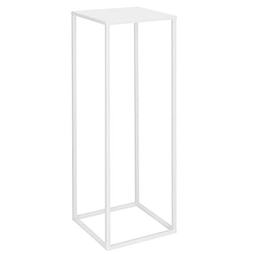 SPRINGOS Support en métal pour plantes d'intérieur, support de fleurs et colonne de plantes carrée, colonne décorative (blanc, hauteur : 100 cm)