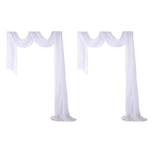 Marooma 2 cortinas blancas de arco de boda, 130 x 350 cm, telón de fondo de tela de gasa para boda, cumpleaños, fiesta romántica, decoración de fondo de arco