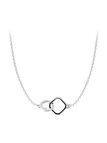 Gwrdnjpjc Minimalistische Vierkante Cirkel Geometrische In Elkaar Grijpende Glanzende Dubbele Ring S925 Sterling Zilveren Ketting Sleutelbeen Ketting Cadeau Vrouw