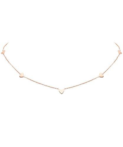 Faye - Damen Halskette Multi Heart Choker - In Silber oder Roségold - Aus hochwertigem Edelstahl - Mit Herz-Anhänger - Längenverstellbar