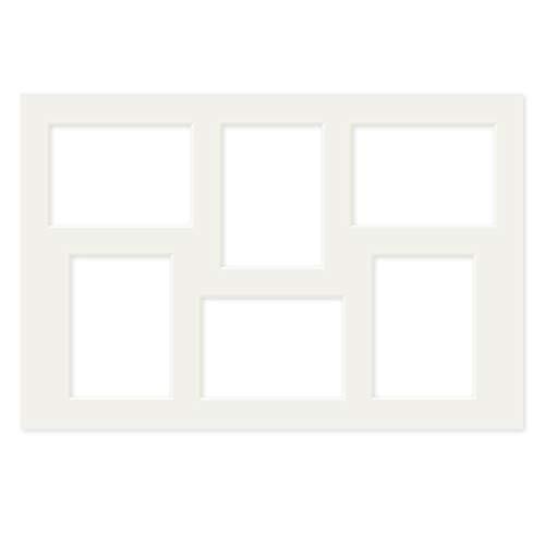 PHOTOLINI Galerie-Passepartout Weiß 40x60 cm für 6 Bilder in 13x18 cm   Passepartout mit Mehrfachausschnitt