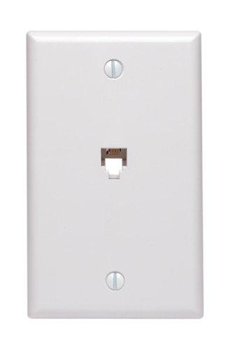 Leviton 40539-PMW Midsize Telephone Wall Jack, 6P4C, White
