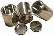 3 Brennstoff-Dosen aus Weißblech / Je 0,5 Liter Volumen / Höhe 10 cm - Durchmesser 9,0 cm / Für Gelkamine + Ethanol-Gelkamine