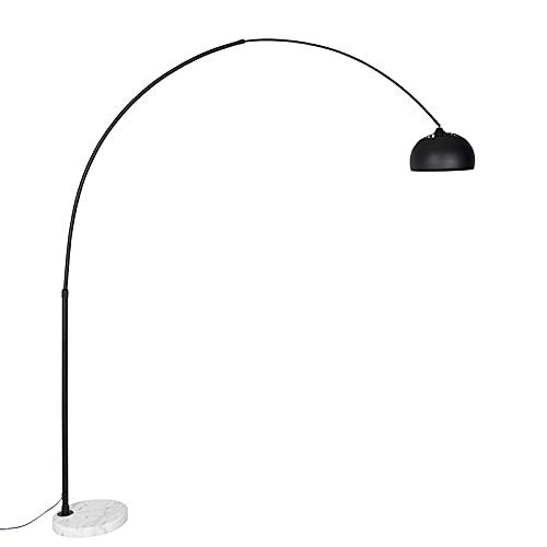 QAZQA Moderno Lámpara de arco moderna negra con blanco orientable - XXL Mármol/Acero Alargada Adecuado para LED Max. 1 x 60 Watt