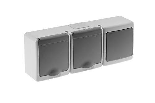 Preisvergleich Produktbild Schalter u. 2-fach Steckdose mit Klappdeckel Aufputz IP44 grau Feuchtraum