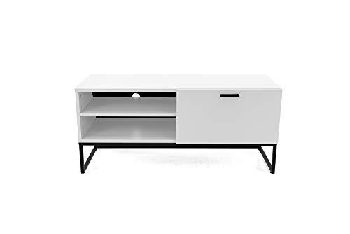 TENZO 2 offenen Fächern und 1 Klappe Bank Mello, lowboard, Board, Tv-möbel, Weiss lackeirt, Skandinavisches Design, Spanplatte Stahl lackiert, H53,5 x B118 x T43 cm