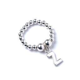 Roodles Sterling zilveren Ball Bead Ring met Initial Z Bedel