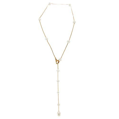 Sweet deluxe Halsketting voor dames, dames en meisjes, matgoud/parel, elegante halsketting voor dames, vrouwen en meisjes