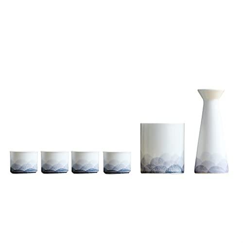Botellas y juegos de sake Juego de vinos de cerámica japonesa, caja de regalo de estilo chino, frasco de 1x cadera, 1x cubo cálido (hielo), 4x taza