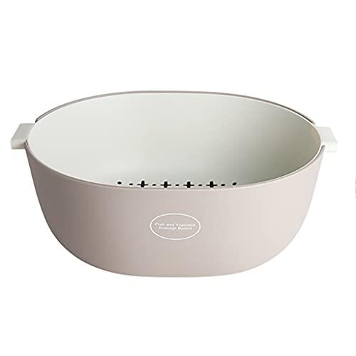 Juego de cuencos coladores de cocina, colador de alimentos 2 en 1 y cuenco de lavado, canasta de drenaje grande de doble capa para mezclar frutas y verduras, apto para lavavajillas
