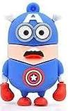 USB146 16GB-32GB Goma Minion Disfrazado Capitán América (32GB)