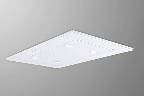Premium Line Deckenhaube 96cm, Weiß Glas Design,inklusive Motor 925m³/h,Dunstabzugshaube,Fernbedienung,LED Beleuchtung,Nachlaufautomatik,Deckenlüfter,Abzugshaube,Ablufthaube,Umlufthaube