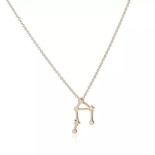 Hombres Mujeres de moda Collar Joyas Gargantilla Collar con signos del zodiaco de Libra, collares con colgante de estrella de constelación única para mujer, bonito collar de fiesta Cumpleaños Regalos