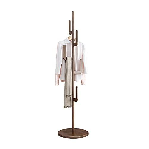 KASLANDI Wood Coat Rack Stand, Freestanding Coat Tree with 6 Hooks, Hallway Entryway Hat Hanger Organizer Standing for Bedroom, Office, Clothes, Jackets, Purses, Bags, Umbrallas, Cactus Shape, Walnut