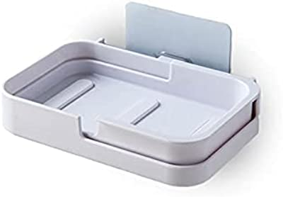 石鹸置き ソープトレー 壁を痛めない粘着式シール 水が垂れない 石鹸トレー 浮かす収納 (ホワイト)