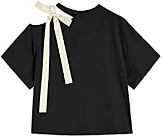 Wanxiaoyyyindx T Shirts for Women, Summer Off-Shoulder Blouse Women's Hollow Bow Tie Tie T-sShirt Fashion Clothes Short Sl...