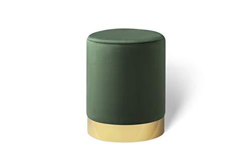 LIFA LIVING Runder Samt Pouf in dunkelgrün Ø 30 cm, Zylinderförmiger...