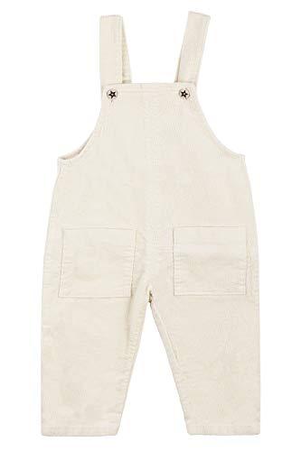 Camilife Kordsamt Latzhose für Baby Jungen Mädchen Overall Kord Hose Cordhose Haremshose mit Hosenträger Süß Lieblich Vintage Retro - Beigeweiß Größe 80