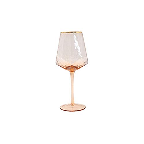 Broccoli21 Copas de Vino Vino geométrico Vidrio Tazas martilladas champán Vidrio Coral Oro Lado Rojo Copa de Vidrio Copa de Vino (Color : Wine Glas)