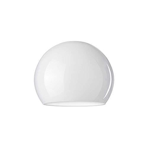 LUMIS Lampenschirm aus Glas für Deckenleuchte, Wandleuchte, Tischleuchte, Bodenleuchte, 12,5 cm Durchmesser, Weiß, zwei Löcher