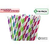Party Bargains Paper Straws | Biodegradable & Reusable Assorted Rainbow Stripe Drinking Large Straw | Perfect for Juices, Shakes, Smoothies, Party Supplies, Arts & Crafts | 150 Counts