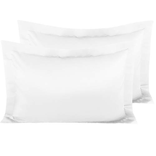 NTBAY Satin Pillow Shams, 2 Pack Super Soft and Luxury Pillow Cases, Queen Size, White
