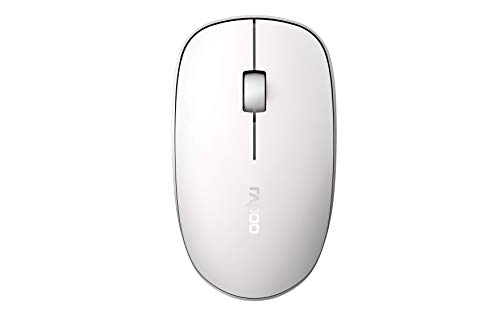 Rapoo M200 Silent - Ratón inalámbrico con Bluetooth y inalámbrico (2,4 GHz) a través de USB, ratón inalámbrico, Teclas silenciosas, 1300 dpi, Color Blanco