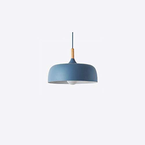 KESAI HomeDeco Nordic Modern Pendelleuchte, Hängelampe aus Aluminium und Holz für Esstisch, E27-Lampenfassung, runde Macaroon-Pendelleuchte für Esszimmer, Schlafzimmer und Café,Blau