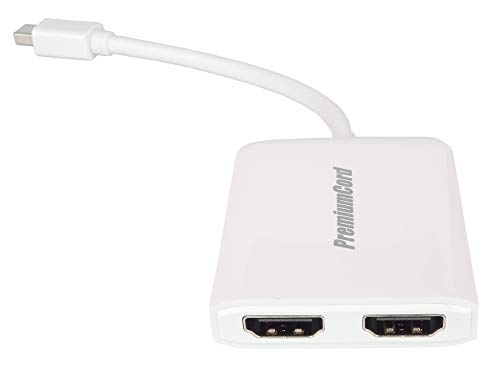 PremiumCord MST Adapter Mini DisplayPort 1.2 to 2x HDMI 2.0, Extension + Mirror + 2 Different Screens, Video 4K @ 60Hz 2160p, Full HD 1080p, 3D, White