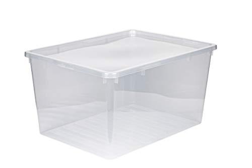 Kreher XXL Aufbewahrungsbox mit Deckel aus Kunststoff in Transparent. Fasst ca. 135 Liter. Maße ca. 78 x 56 x 41 H cm.