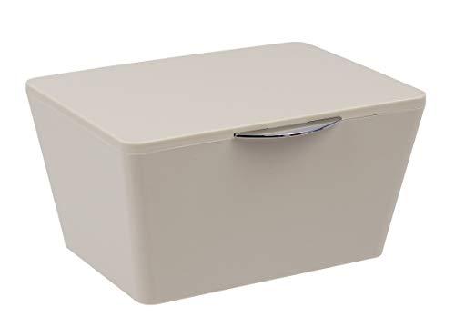 Wenko Aufbewahrungsbox mit Deckel Brasil, Aufbewahrungskorb für das Badezimmer, Badkorb aus bruchsicherem Kunststoff, 19 x 10 x 15,5 cm, Taupe