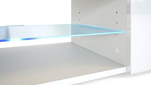 Wohnwand Anbauwand Movie, Korpus in Schwarz matt / Fronten in Schwarz matt und Avola-Anthrazit mit blauer LED Beleuchtung Bild 3*