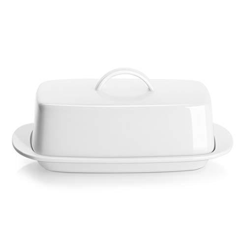 Sweese Kleine Butterdose mit Henkeldeckel Design - perfekt für 1 Stäbchen Butter - Porzellan weiß 326.101